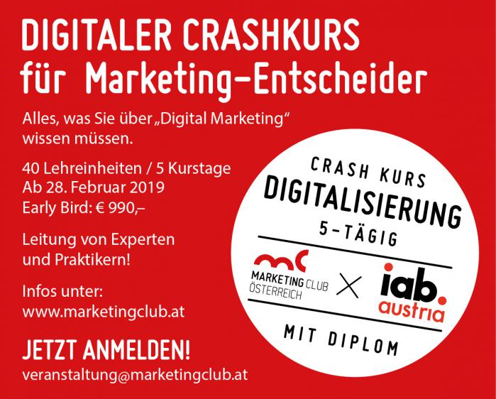 Crashkurs Digitalisierung für Marketing-Entscheider ab Februar 2019