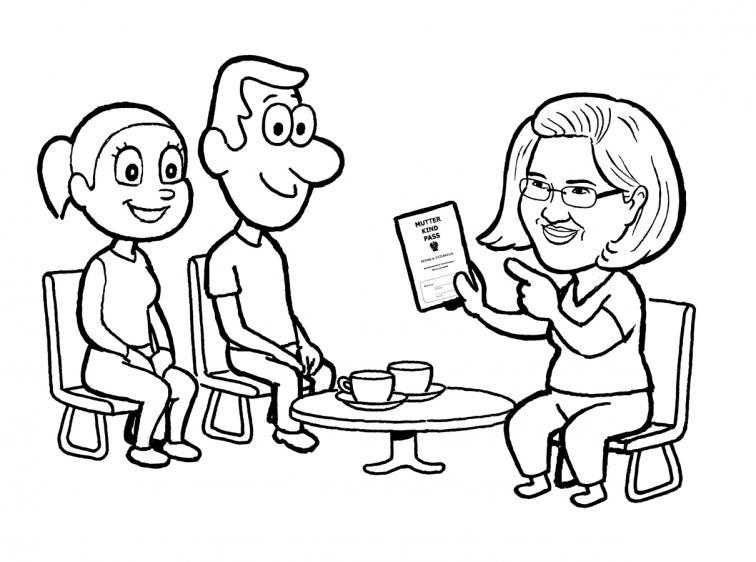 Illustration Mutter Kind Pass Untersuchung