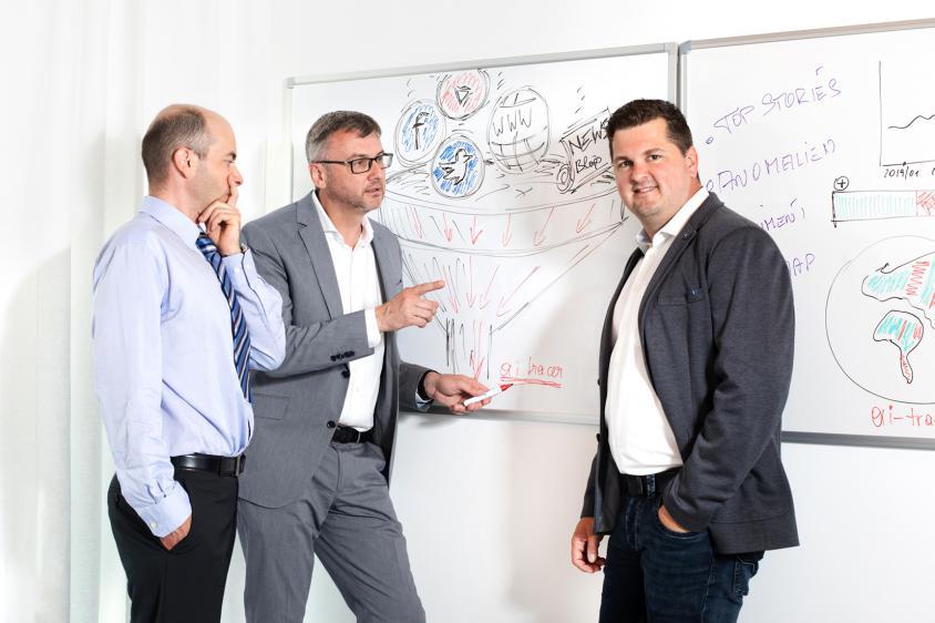 we-make.ai Gründer Dr. Bernhard Mayr, Mag. Jörg Hasenleithner und Mag. Michael Allerstorfer (beide Widerhall)