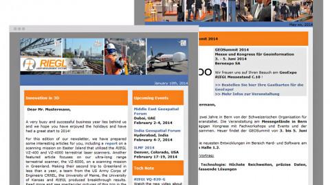 Riegl Newsletter und Einladungsmanagement