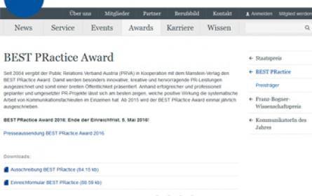 PRVA startet Ausschreibung zum Best PRactice Award 2016