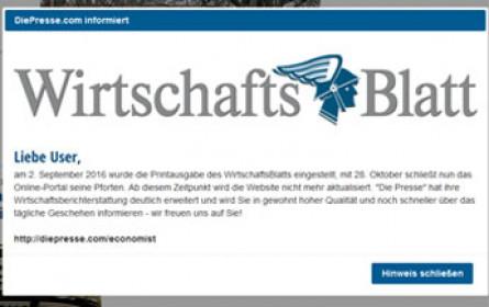 """""""WirtschaftsBlatt"""" - auch Online-Auftritt eingestellt"""