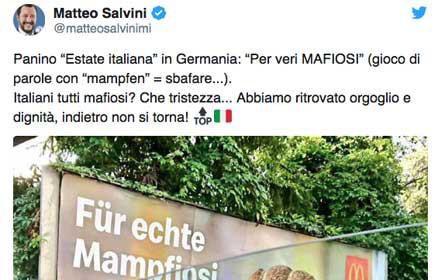 Salvini protestierte auf Twitter gegen McDonald ́s Österreich-Werbung