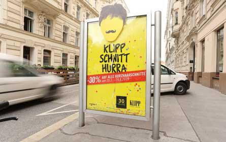 Klipp-Kampagne mit Plakat & City Light von Gewista umgesetzt