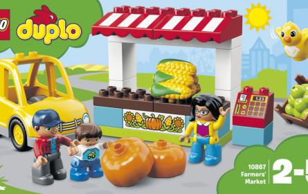 Billa baut auf Legosteine