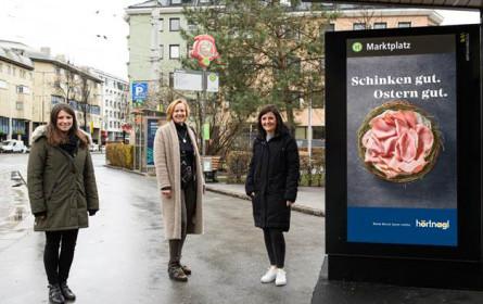 Hörtnagl wirbt auf digitalen Citylights für nachhaltige Regio-Produkte