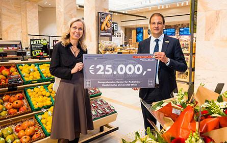 Interspar spendet 25.000 Euro für Kinder-Kompetenzzentrum der MedUni Wien