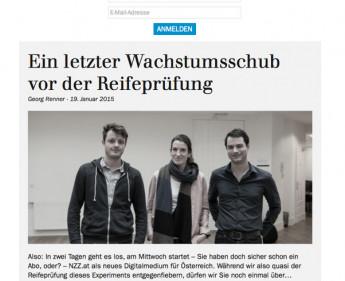 """""""Neue Zürcher Zeitung"""" ist gestartet"""