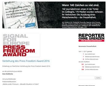 "Polnische Journalistin Ewa Siedlecka erhält ""Press Freedom Award 2016"""