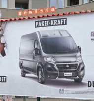 Der Fiat Professional Ducato fährt auf Out of Home ab
