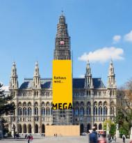 Megaboard neu am Wiener Rathaus